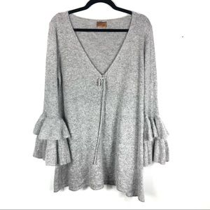 Pol bell sleeve grey sweater P12